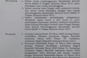 Ponpes Balekambang Resmi Menjadi Tuan Rumah Musabaqah Qiroatul Kutub (MQK) VI Tingkat Nasional Tahun 2017