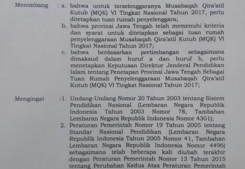 Ponpes Balekambang Resmi Menjadi Tuan Rumah Musabaqoh Qiroatil Kutub (MQK) VI Tingkat Nasional Tahun 2017